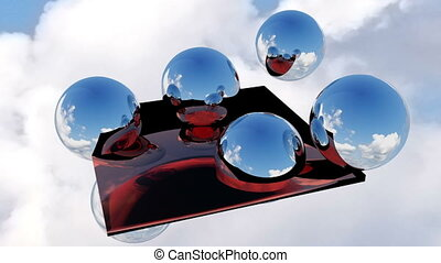 Abstract screensaver 3d with sphere and sky. - Abstract...