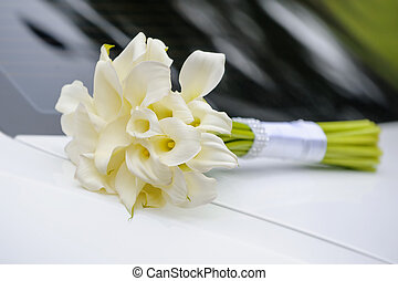bridal bouquet of white calla