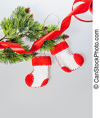 navidad, artes, santa, Claus, botas, vellón, hechaa...