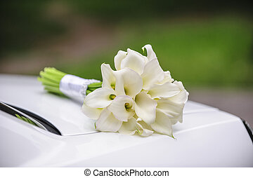Beautiful wedding bouquet of white calla