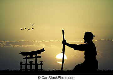 Japanese man with sword at sunset - illustration of Japanese...