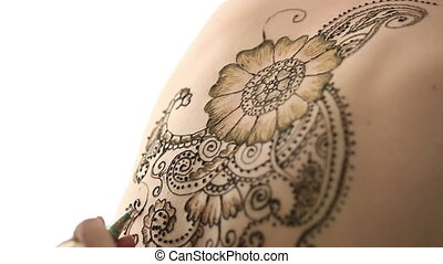 Close-up of henna painting on body Mehndi art Isolated on...