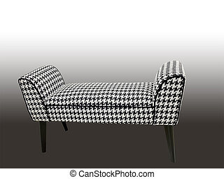 Banquette - Modern banquette with wooden legs against brown...