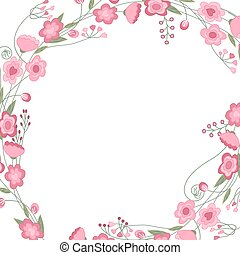 Detailed contour square frame with herbs, roses and wild...