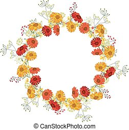 Detailed contour wreath with gerbera and berries isolated on...