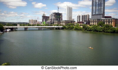 Austin City Skyline Under First Street Bridge Colorado River...