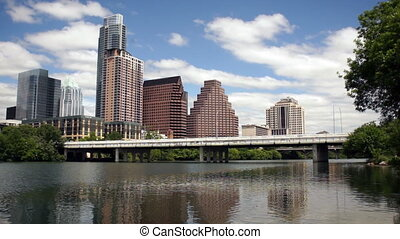 Austin City Skyline Near First Street Bridge Colorado River...