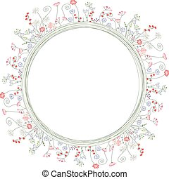 Detailed contour wreath with berries and herbs isolated on...