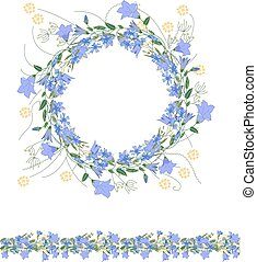 Detailed contour wreath and seamless pattern brush...