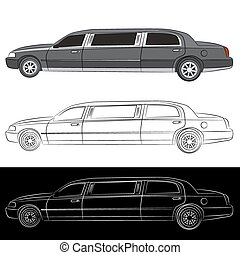 Luxury Limo Car Icon - An image of a stretched limousine...