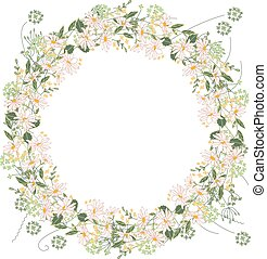 Detailed contour wreath with herbs, daisy and wild flowers...