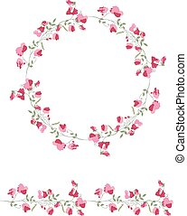 Detailed contour wreath and seamless pattern brush with...