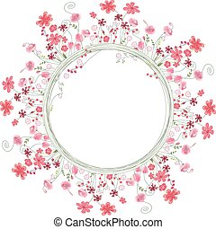 Detailed contour wreath with herbs and red flowers isolated...