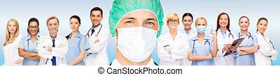 sobre, boné, máscara, equipe, cirurgião, médico