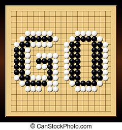 Go Game Board Word Gobang Gomoku - Go game where black and...