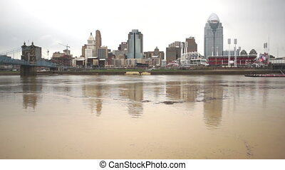 Flooded River Flows Barge Passing Cincinnati Ohio Downtown -...