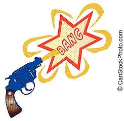 Comic Gun Bang - A snub nose handgun with bang text,...
