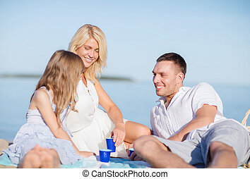 happy family having a picnic - summer holidays, children and...