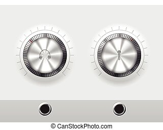 Volume knobs for headphones and microphone with wite plate