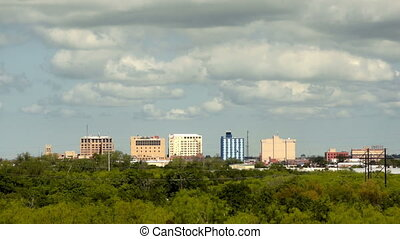 Sparse Downtown City Skyline Wichita Falls Texas Clouds...
