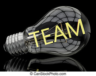 Team - lightbulb on black background with text in it. 3d...