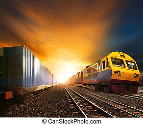 industry container trainst running on railways track against...