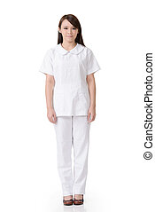 Asian nurse - Full length portrait of Asian nurse with white...