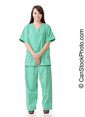 healthcare worker - Asian woman of healthcare worker isolat...