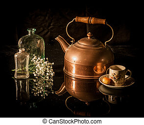 Still life antique brass tea pot, cup, flower - Still life...