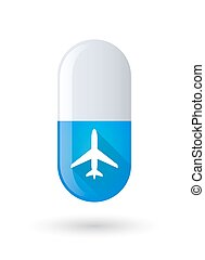 Blue pill icon with a plane
