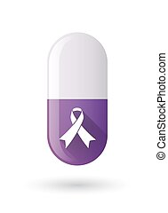 Purple pill icon with an awareness ribbon
