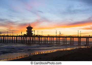 Huntington Beach pier sunset - Sunset at Huntington Beach...
