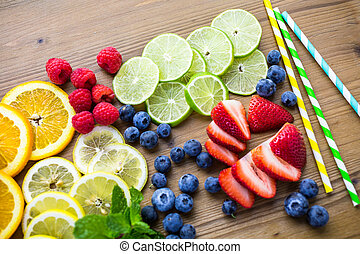 Fresh fruits - Sliced fresh organic fruits prepared to make...