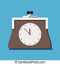 Purse with clock, time is money concept EPS 10 vector...