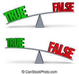 Weighing True Or False Set - A bright, green TRUE and a red...