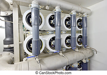 reverse osmosis equipment inside of plant