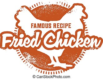 Vintage Fried Chicken Stamp - Vintage style fried chicken...