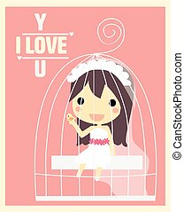 girl in cage valentine's card