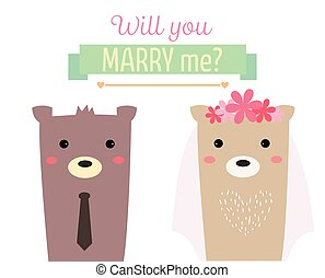 married bear - couple bear married with text will you marry...