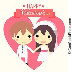 cute couple widdingvector - cute couple wedding in heart...