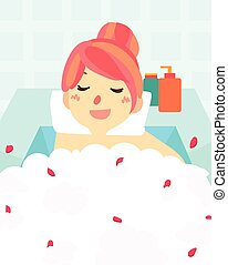 cute woman bath in bath tub spa