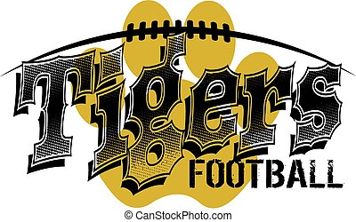 tigers football design with paw print