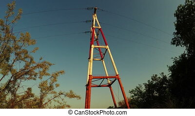 Mast power - Road with stones in side power transmission...