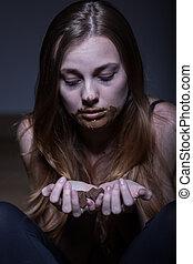 mujer, sufrimiento, De, bulimia,