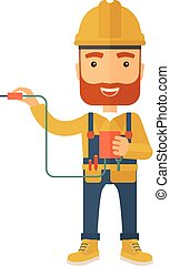 Electrician holding power cable plug - A young electrician...