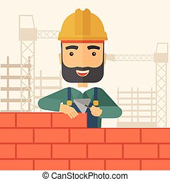 Builder man is building a brick wall.
