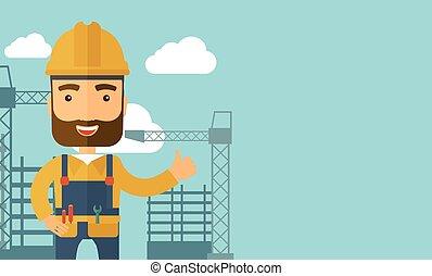 homme, debout, infront, de, construction, grue, tower.,