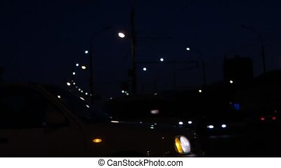 Busy road at night. Many cars fast motion FHD