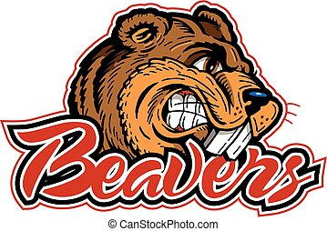 beaver mascot  - beaver design with cartoon mascot head
