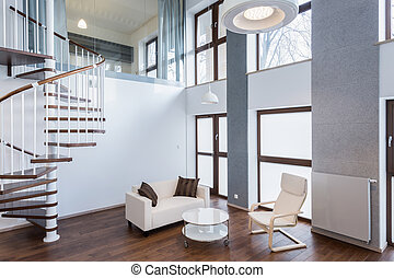 Stairs in living room in contemporary mansion - Stairs in...